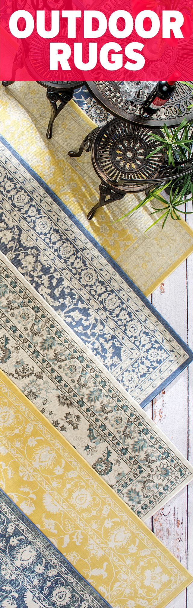 Rugs USA has a delightful combination of Outdoor Rugs that are both durable and beautiful! Click above to see a variety of options with savings of up to 80% off!