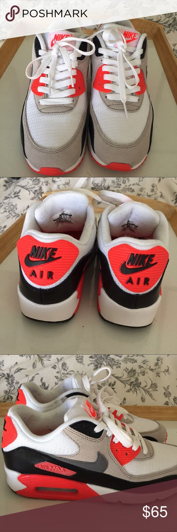 Nike Air Max 90 Infrared (Classic) Nike Air Max 90 Infrared Premium Mesh (Unisex) In great condition; rarely worn. Size 6 youth / Women's 7.5 Regular price $100   NO TRADES Nike Shoes Sneakers