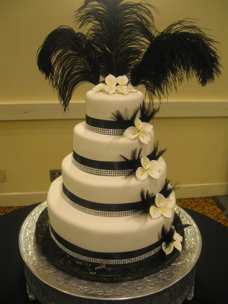 Black and White Wedding Cake with Rhinestones and Calla Lillies, 11-10-2012 Congrats to Alex and Katie
