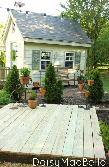 Easy, Affordable {DIY Deck} made from {Concrete Blocks & Railroad Ties}
