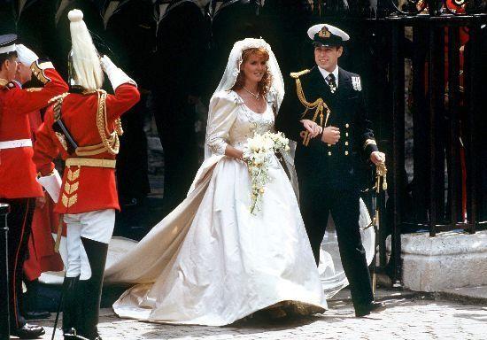 BRITAIN: Sarah, Duchess of York (nee Sarah Ferguson) & Prince Andrew, Duke of York. July 23, 1986.    Not as 80's as Diana's but still...