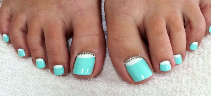 Mint Green Toes White Half Moon Design&Rhinestones Summer 2014 Nail Art #ByMargarita
