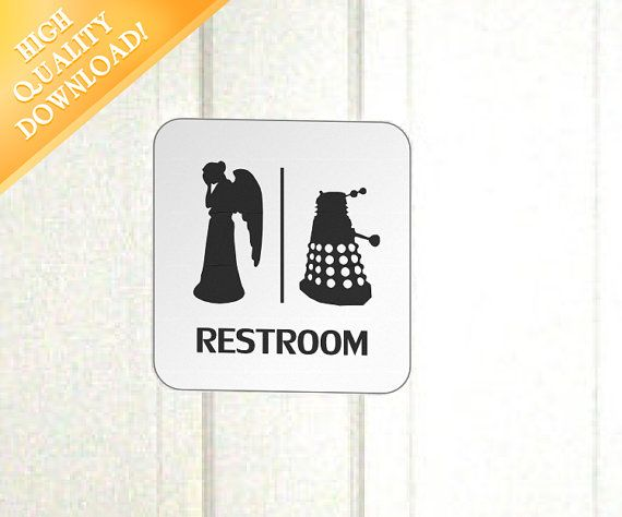 Doctor Who Restroom Sign  High Quality Printable by PropPrintables, $2.50