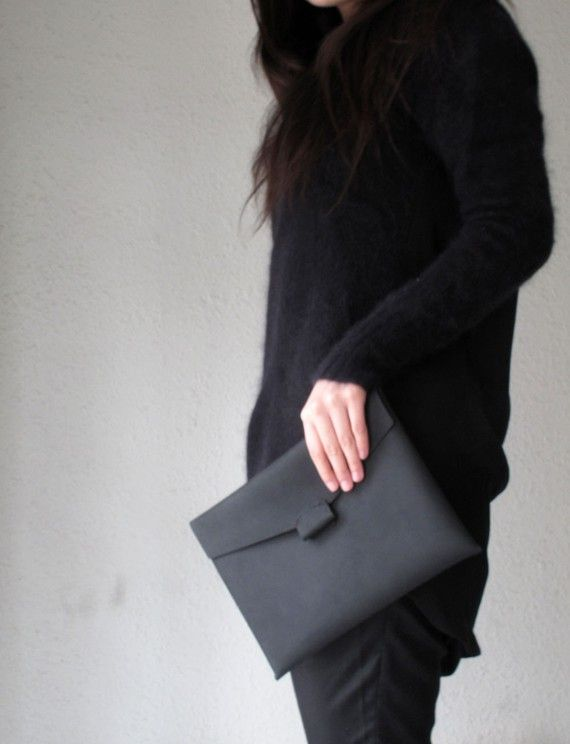 Hand-stitched matte leather iPad case.    #converttoblack