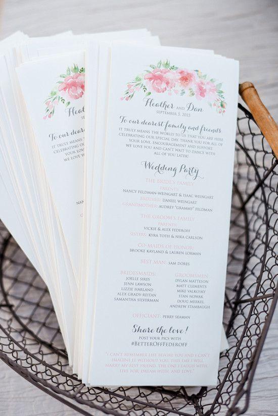 pink fancy script wedding program