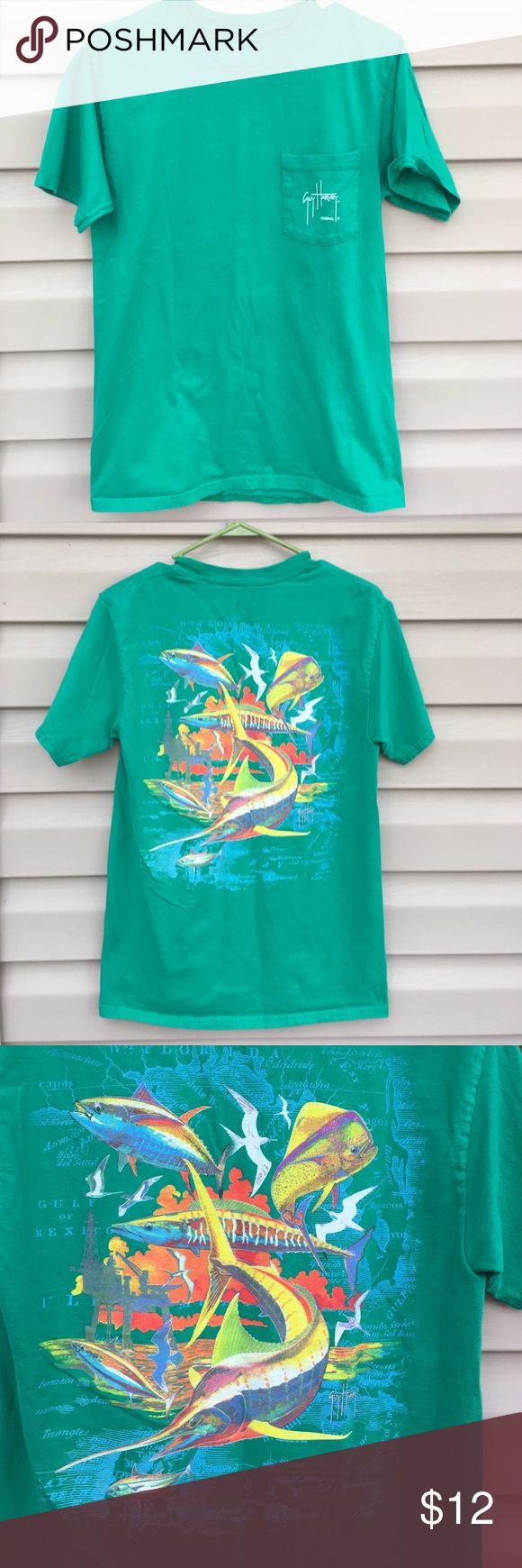 Guy Harvey men's green short sleeve shirt Nice blue water green shirt with front pocket with logo, fish scene on back. 100% cotton, no stains or holes. EUC Guy Harvey Shirts Tees - Short Sleeve