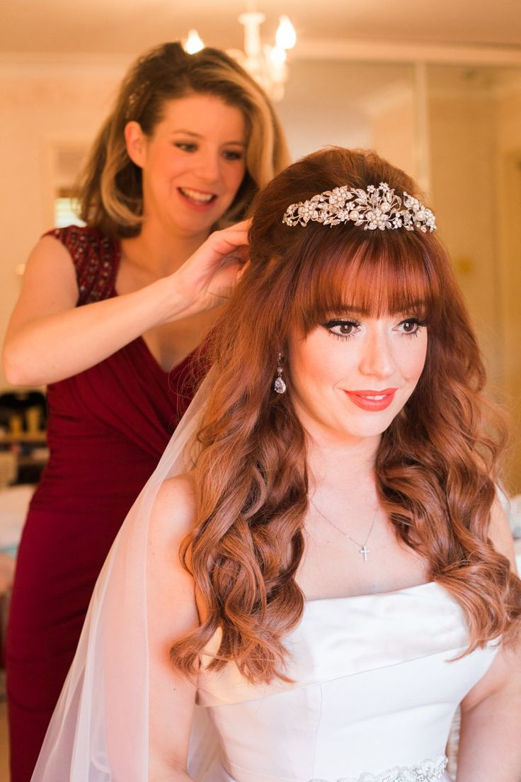 Bridal hair accessories for long hair - Fringe Bangs Red Hair Waves Curls Bride Tiara Long Style Rustic Autumn Halloween Wedding Http
