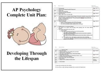 Developing Through the LifespanDevelopmental PsychologyThis unit covers an overview of human development from birth to death. The content structure is based on Chapter 5 of David Myers Psychology textbook, 10th Edition but is applicable to many other texts.The activities for this unit are mostly discussion and simulation based.