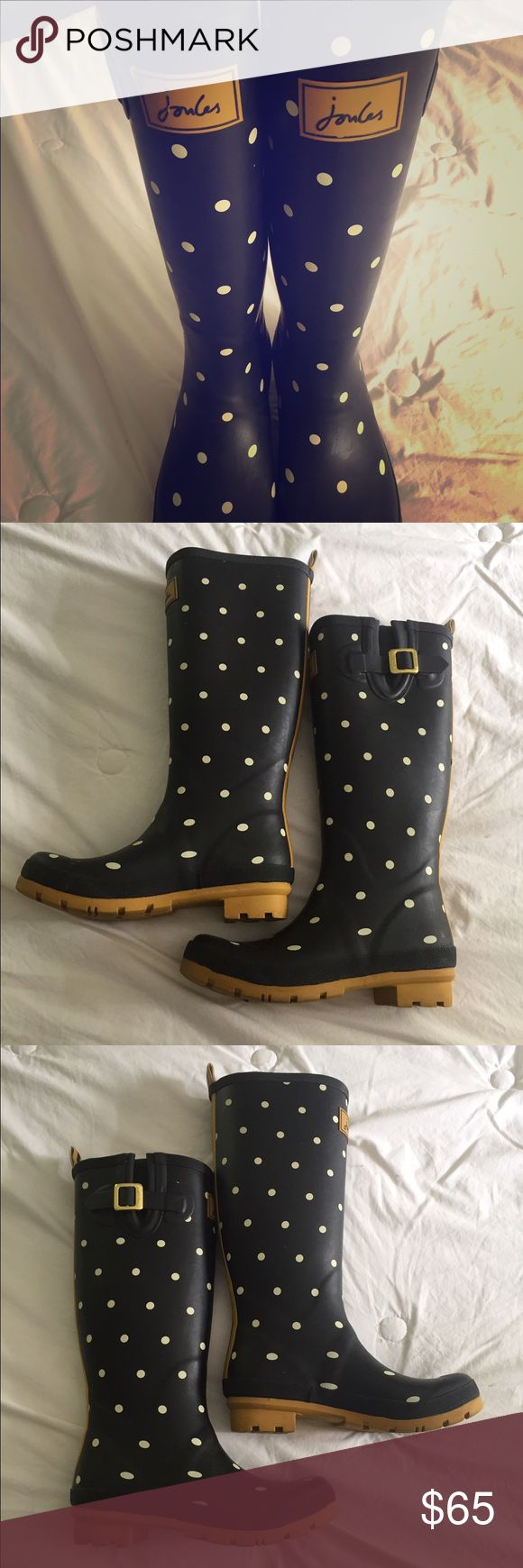 SALE Joules Polka Dot Wellies Rainboots Joules Wellies! These black rainboots have white polka dots, yellow striped back, and yellow on sole. They are a size EU 38, US 7, and have been worn less than 5 times. These are my favorite brand for comfortable rain boots! Joules Shoes Winter & Rain Boots