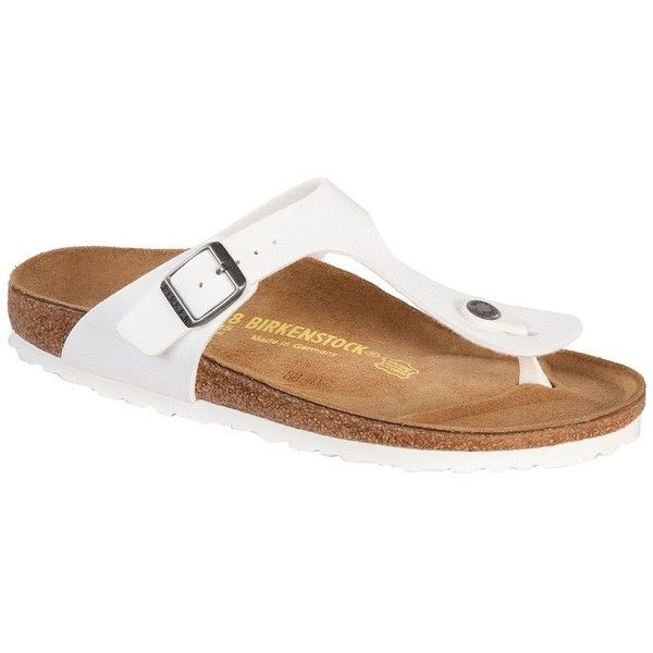 Birkenstock Women's Gizeh Thong Sandals ($95) ❤ liked on Polyvore featuring shoes, sandals, white, wedge heel sandals, white thong sandals, white shoes, white wedge shoes and flat thong sandals