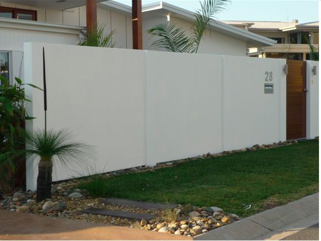 White Concrete Block And Plaster Fence Fence Pinterest