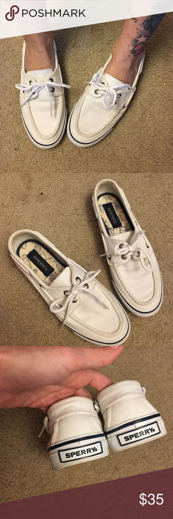 Like new Sperry top-siders shoes Super cute like new worn twice size 8 white Sperry Top-Sider Shoes Flats & Loafers