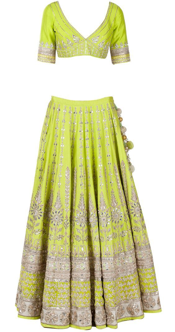 Green Gota Pati Embroidered Lehenga