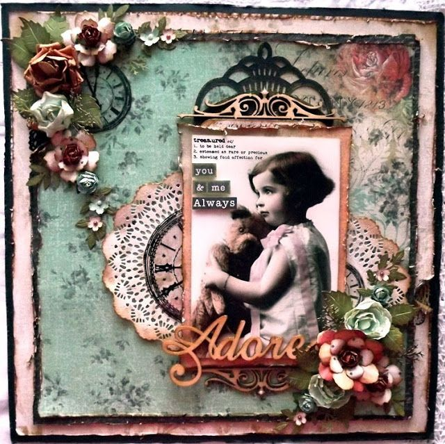 Vintage inspired layout using Kaisercraft,  Curiosity paper collection.