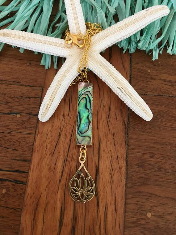 Abalone Paua Shell Bar Lotus Necklace Bar necklace Abalone