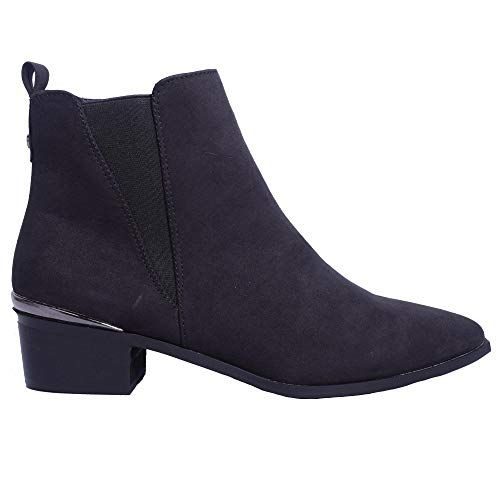Ladies Womens Low Block Flat Heel Toe School Work Chelsea Ankle Boots Size