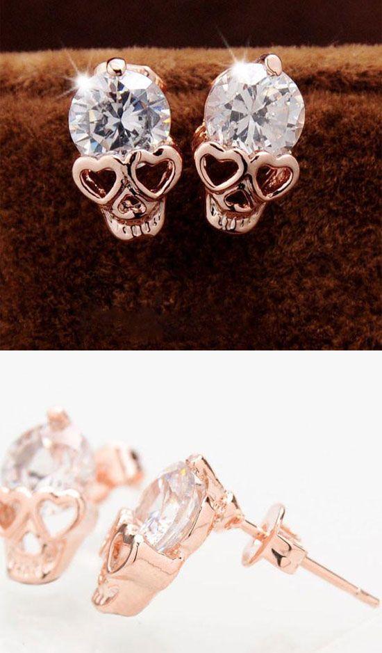 b5edfc5b7e14d Punk Rose Gold Skull Personalized Alloy Diamond Earrings Studs in ...