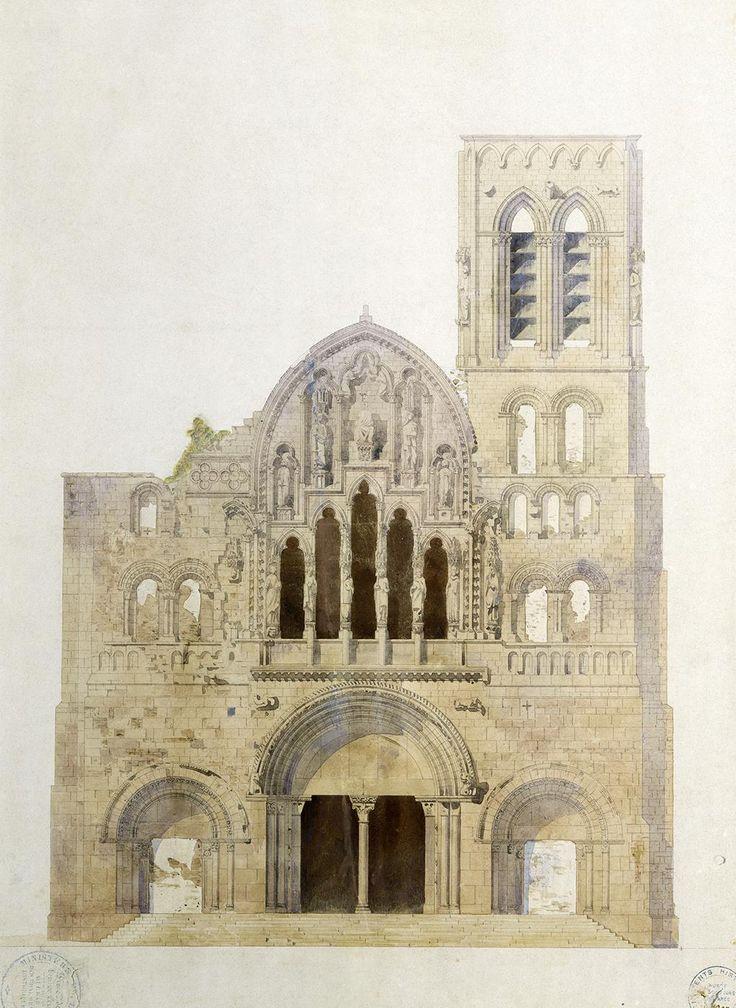 Vézelay, église, façade avant restauration. - Eugène VIOLLET-LE-DUC