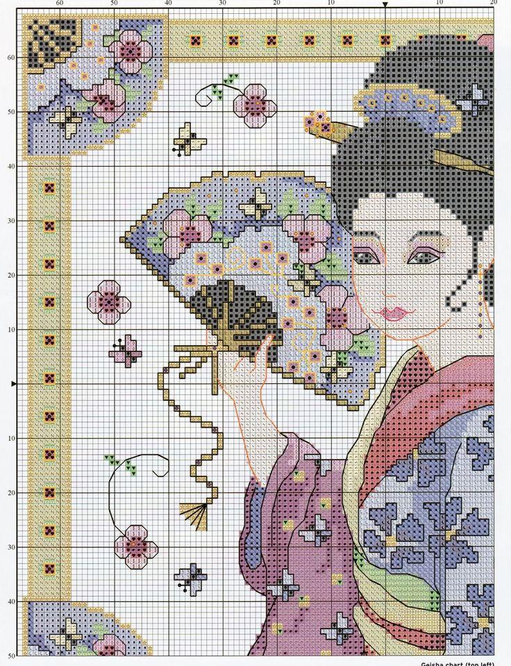 Mejores 64 imágenes de Cross stitch en Pinterest | Geishas, Patrones ...