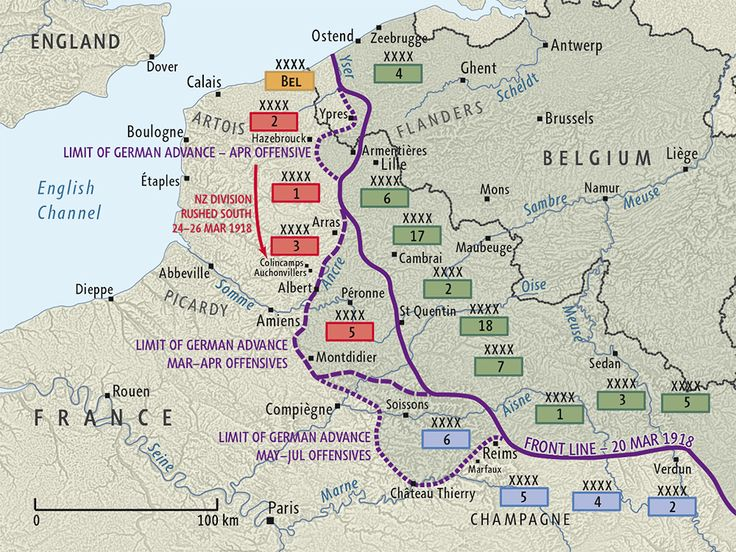 Map of German 1918 spring offensives