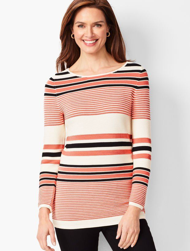 c9cb4029b2 Details This multi-stripe sweater is lightly textured for a fit that  flatters every body. Easy to wear with jeans or dress pants for a perfectly  polished ...