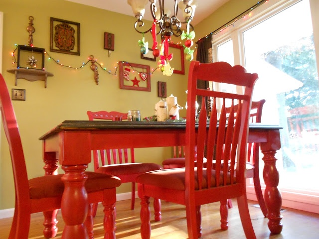 DIY Red Kitchen table I love this for the kitchen!!! Add black and white buffalo check curtains and you've got it made!!