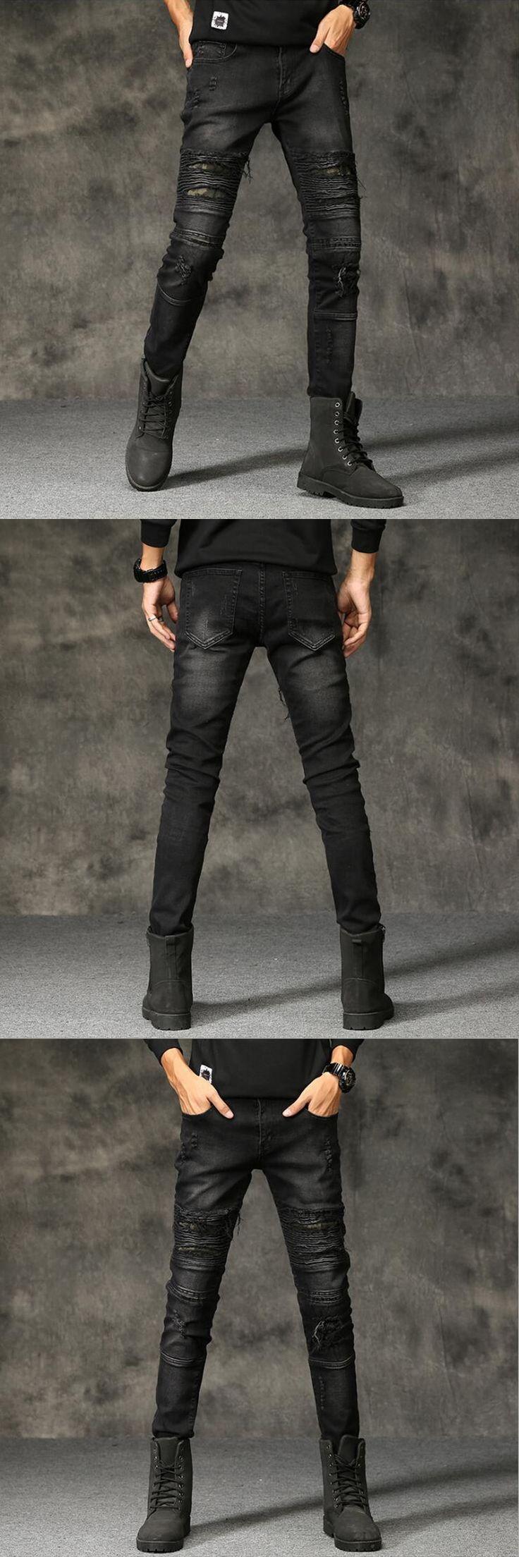 Waterwashed Denim Overalls Men Balplein Brand Moto Biker Jeans Uomo Punk Style Slim Fit Men`s Black Ripped Knee Jeans Homme E205