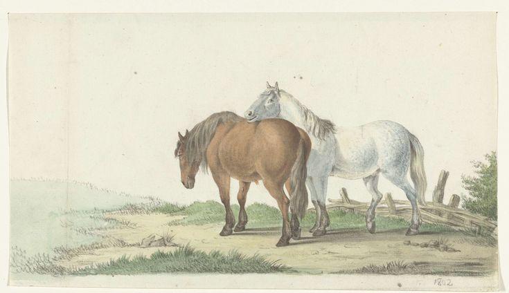 Jean Bernard | Een bruin en wit paard op een weg naast een hek, Jean Bernard, 1802 |