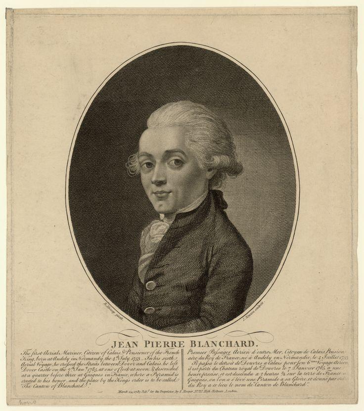 A portrait engraving of Jean-Pierre Blanchard.