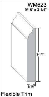"Flexible Moulding - Flexible Base Moulding - WM623 - 9/16"" X 3-1/4"" - 8' Length - Flexible Trim Duraflex by Resinart  Moisture proof. Insect proof. Can withstand extreme heat and cold temps without warping or cracking.http://www.amazon.com/dp/B006R97KV0/ref=cm_sw_r_pi_dp_j.Vxwb0NQVWKB"