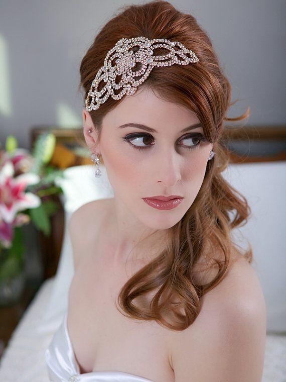 Crystal Gold Headpiece, Crystal Wedding Head piece, Art Deco Great Gatsby Crystal Bridal Hair Accessories, Gold Crystal Comb, STYLE 168