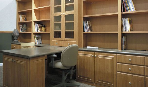 Cabinets and shelves save space because they store all the items that are cluttering up your home office!  http://alturl.com/dx6jq