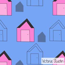 beach huts digital pattern