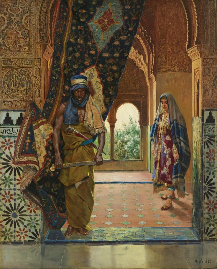The guard of the harem. by Rudolf Ernst.(1854-1932).