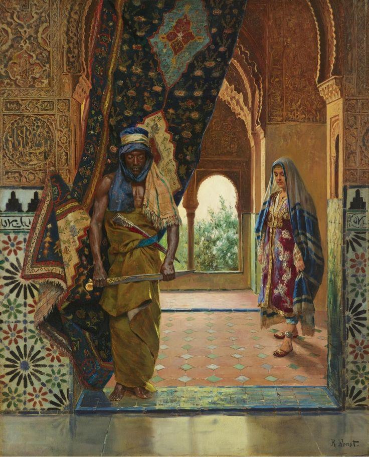 Страж гарема.  Нефть на панели.  60 х 48,5 см.  Искусство Рудольф Эрнст. (1854-1932).