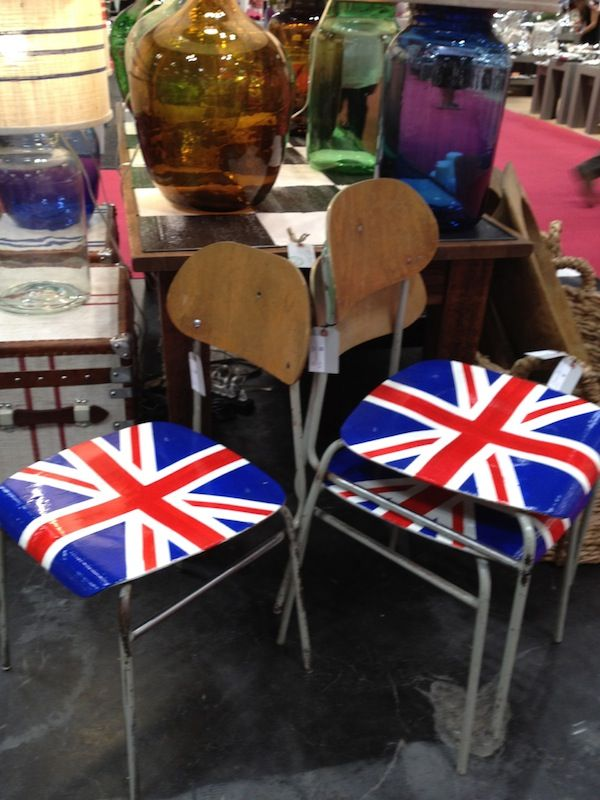 Union Jack school chairs at Europe 2 You--I WANT THIS!