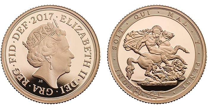 """The Royal Mint released The 2017 gold sovereigns mark the 200th anniversary of their flagship bullion coin. The coin is a reproduction of Benedetto Pistrucci's iconic design from the 1821 original version including the border. The Sovereign first launched back in 1489, issued under King Henry VII in 1817 and then reproduced under King George III. The Pistrucci design is with some distinct differences than the first version. Bordering the design on a belt are the words """"HONI SOIT QUI MAL Y…"""