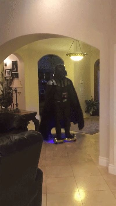 "Vader on a ""hoverboard"" 