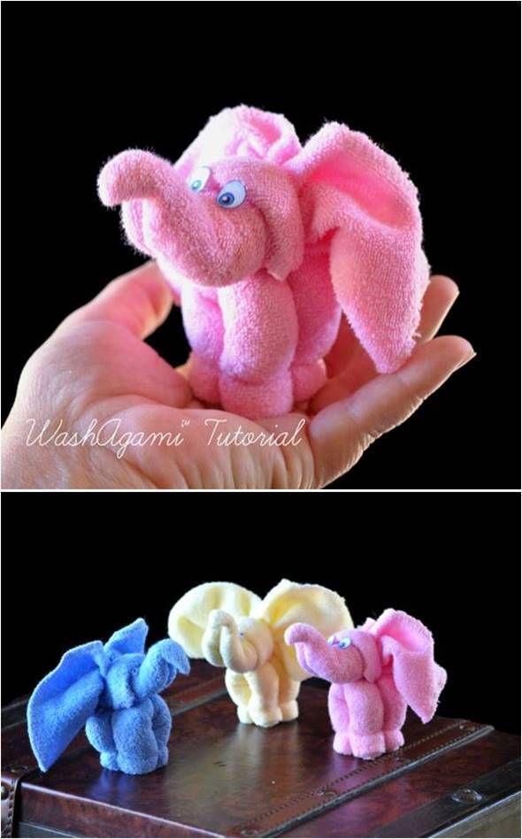 Creative Ideas - DIY Towel Elephant                                                                                                                                                                                 More