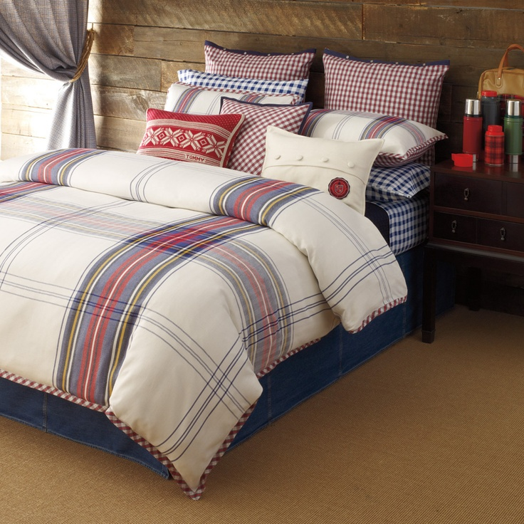 TH Tartan plaid.  I wonder about piecing a comforter with blocks of cream and strips of tartan (maybe Scotland the Brave?) to blend in my bedroom