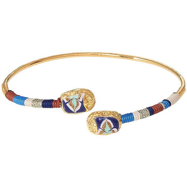 Gas Bijoux Duality Scaramouche 24kt Gold-Plated Bracelet (3,030 THB) via Polyvore featuring jewelry, bracelets, multicolored, gold plated jewellery, gold plated jewelry, hinged bangle, tri color jewelry и gold plated bangles