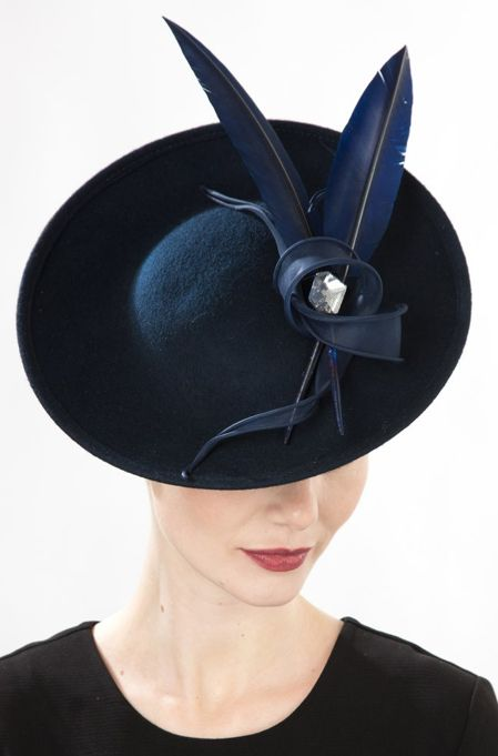 Jane Taylor Millinery, A/W 2014. Mica - Felt Saucer with Feather & Organdy Twist.  #passion4hats
