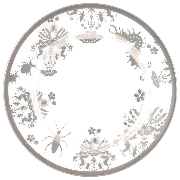 """6"""" 'Entomo' Platinum Bread Plate - a side plate of creepy crawlies. Entomo presents an array of some of the most important yet often misunderstood creatures on our planet. From gossamer wings of the butterfly to the architectural magnificence of the stag beetle, together a pattern of wonderment and delight. Designed by Monica Tsang. Handwash Only. Hand gilded platinum rim and details. Available in Platinum and Black. Made in Stoke-on-Trent, England. Fine Bone China. Find out more here…"""