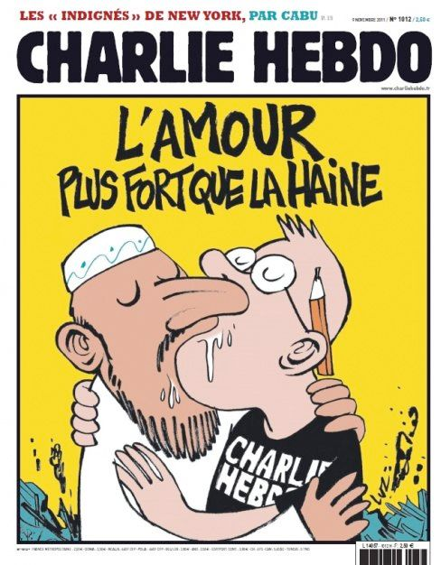 "Response cover to Charlie Hebdo controversy: ""Love is stronger than hate."""
