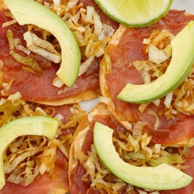 Fresh Tuna Tostadas [gluten free with gf tortillas and gf soy]
