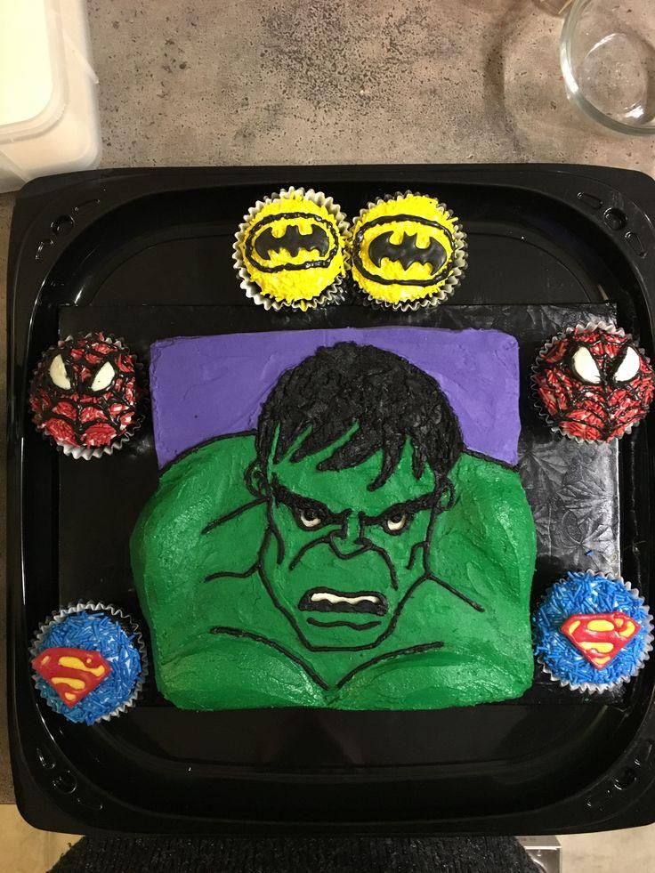 Hulk cake and superhero cupcakes