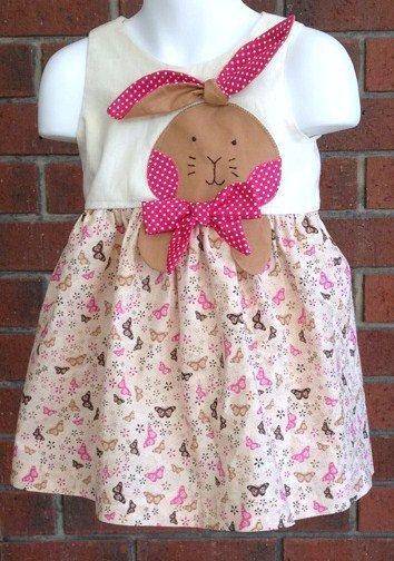 BABY DRESSES PINK, bunny dress size 1, applique rabbit  dress, cotton dress size 1, baby girl dresses, size 1 dresses