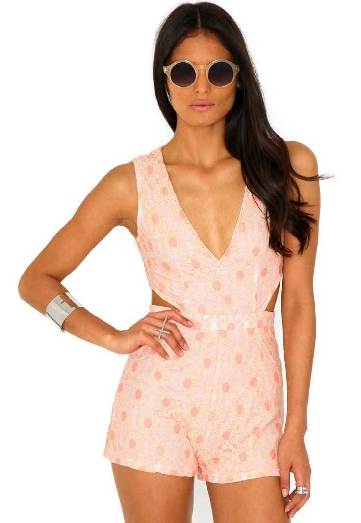 Caprica Floral Plunge Front Cut Out Playsuit