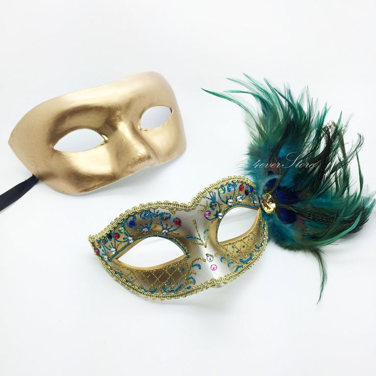 Golden Peacock Masquerade Mask Couples Masquerade by 4everstore