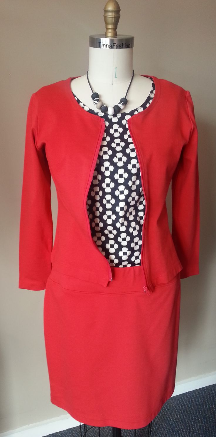 Fitted Jacket and Short Skirt in Red Ponti fabric, and Round Neck Top in Geometric fabric
